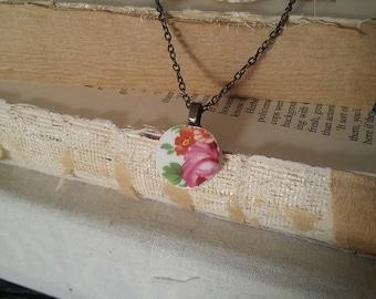 Small rose broken china pendant antique bronze bail & chain