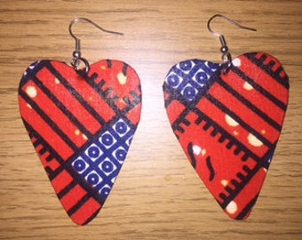 African Print Heart Shaped Earrings