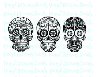 Sugar Skull SVG File-Day of the Dead SVG File- Sugar Skull Instant Download | Cut file | Cricut Silhouette Cameo file | Printable Clipart