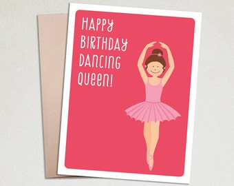 Birthday card - Kids birthday cards - Funny Birthday Card - Girl Birthday - Dancing queen