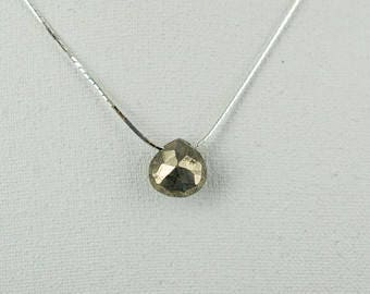 Beautiful Faceted  Pyrite  Pendant with Silver Necklace