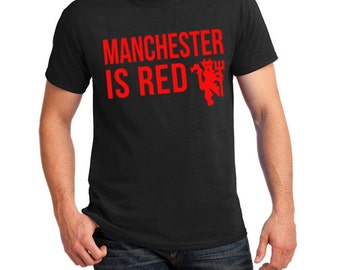 Manchester United Inspired City & Color Soccer Tee (Black/Red)