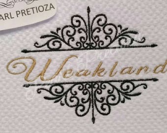 kitchen towels-personalized embroidery design- great for mother's day or any gift