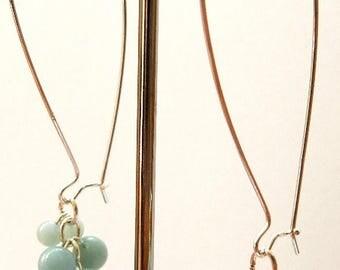 Sterling Silver Amazonite Cluster Earrings ELJ001A