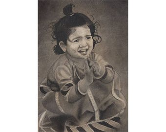 Next Door Baby Girl Playing with Mud - Archival Print from a Charcoal Painting