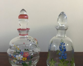 Lot Of 2 Vintage Perfume Bottles Hand Painted With Stopper