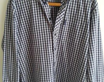Ben Sherman Black and white checked shirt. Large.