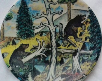 Arabia Finland plate. Number 27. Bears. Finnish Scandinavian design by Andreas Alariesto.