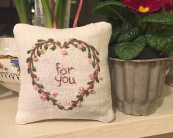 Hand embroidered sachet