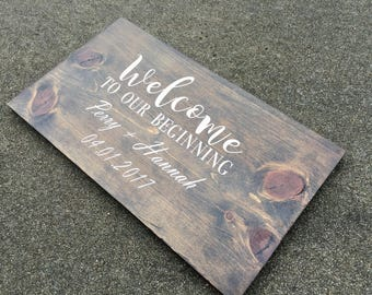 Customized Marriage Sign - Welcome to our beginning, Wedding Sign, Customized Wood Sign, Last Name Sign