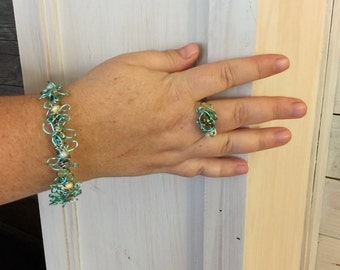 Aqua Wired Bracelet and Ring Set