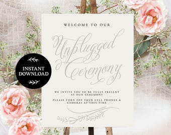 Unplugged Ceremony Sign INSTANT DOWNLOAD Unplugged Wedding Sign,Unplugged Sign No Phones Sign, No Cameras Sign, No Cell Phone Sign - Bella