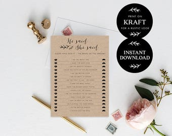 He said she said game printable, INSTANT DOWNLOAD, Printable Wedding Games, Rustic He Said She Said Game, Bride or Groom - Lilly