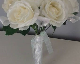 Elegant white Rose and white peony bridal artificial bouquet with a hint of sparkle.