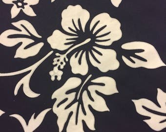 Hawaiian Fabric Dark Navy Blue White Hibiscus Last Piece 1 Yard 30 Inches Long