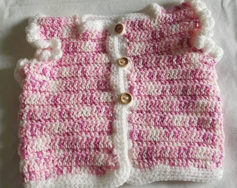 Pink and white vest / waistcoat baby