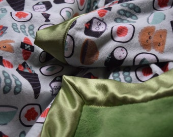 Sushi in Wasabi Baby Blanket- Neutral Green
