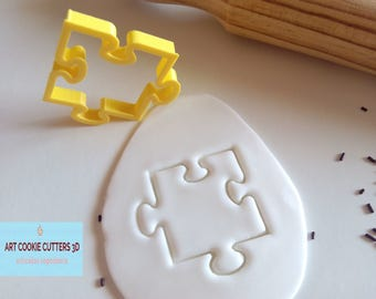 Cutter cookies or fondant piece puzzle.  Puzzle Cookie cutter.