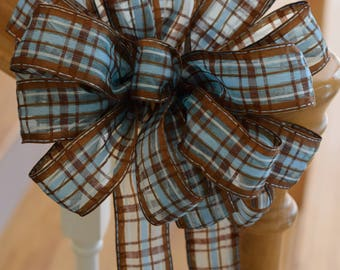 Brown Blue Plaid Bow, Brown Blue Bow, Check Bow, Plaid Bow, Wreath Bow, Banister Bow, Basket Bow. Decorative Bow