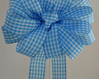 Blue & White Gingham Bow, Blue Bow, Gingham Bow, Decorative Bow. Spring Bow, Summer Bow, Wreath Bow, Basket Bow, Baby Shower Bow, Shower Bow