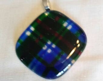 blue red green plaid glass pendant, necklace, art glass, fused glass,