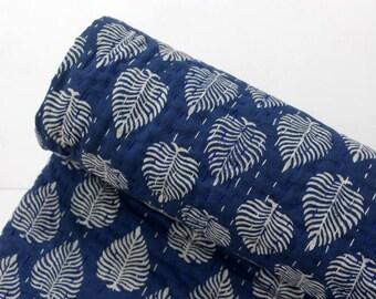 Kantha Quilt, Kantha Throw ,Vintage Hand made kantha  quilt vintage throw Queen size Throw handmade kantha Indigo blue