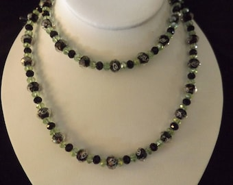 Long Floral Beaded Necklace in Darker Tones
