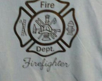 monogrammed property of fire fighter t shirt