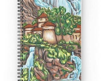 Spiral notebook for journal sketch zentangle - painting landscape waterfall Castle