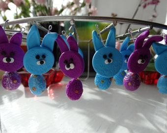 Cute polymer clay hanging bunny decoration in blue and purple color