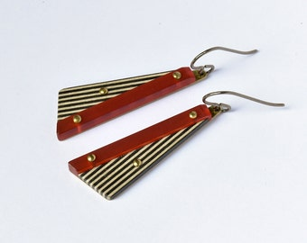 Earrings with titanium hooks, wood, arylique red, black and white stripes