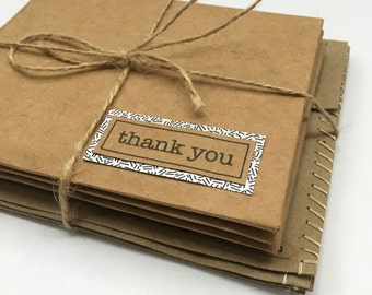 Thank You Cards Set of 4 Greeting Cards Handmade Thank you notes Recycled paper greeting cards set Thank you cards Repurposed Upcycled