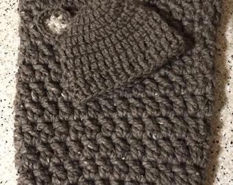 Handmade Crochet newborn bear hat, with matching baby cocoon