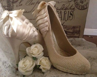 Ivory satin and pearl bridal shoes