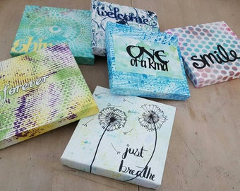 Small Personalized Sign, Handmade Paper, Six (6) Different Options, 'Smile' 'Forever' 'Shine' 'Welcome' 'One of a Kind', 'Just Breathe'