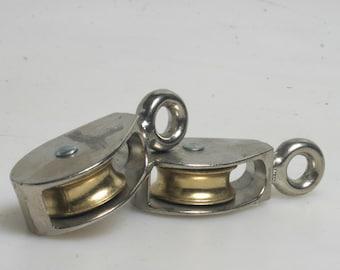 Brass & Chrome Pully Set of 2