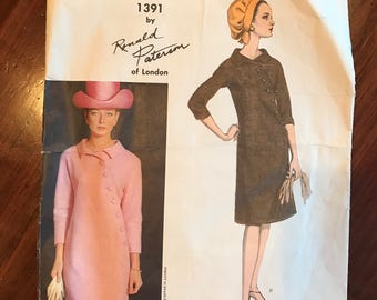 Vintage Vogue Couturier Design Pattern - One Piece Dress - Ronald Paterson of London - 1964 -Size 12, Bust 32, Hip 34