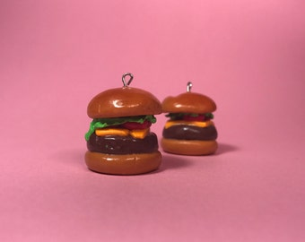 Burger polymer clay charm necklace pendant
