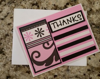 Handmade Pink & Black Thank You Card