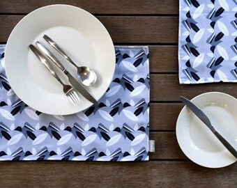 Handmade Placemats Willy Wagtail Design (black/grey)