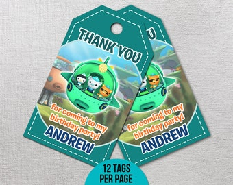 Octonauts Thank You Tags, Octonauts Birthday, Octonauts Party Favor, Octonauts Printables, Octonaut Printable Gift Label, Goody Bag Tag
