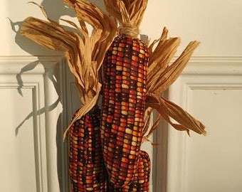 Plush Indian Corn Hand Crafted Thanksgiving Door/Wall Hanger
