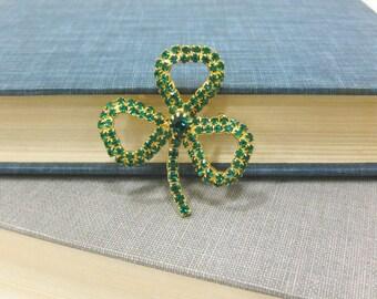 Vintage St. Patrick's Day Green Rhinestone Shamrock Brooch