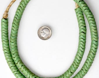 24 Inch Strand of 9mm Green Czech Glass Snake Beads - Vintage African Trade Beads - #SNA381