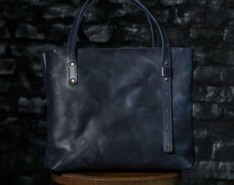 free personalization, Leather Tote, Leather Bag, Women leather bag, shoulder bag, handbag, gift, women, unique, handmade, casual, Blue
