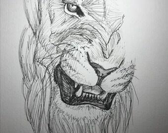 Lion Growl illustration - pen and ink illustration - original - Fine Art