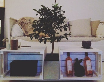 Coffee table in crates on wheels with plant