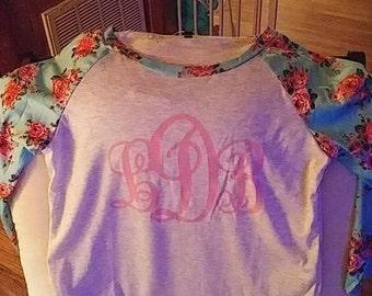 Floral sleeve raglan monogram shirt