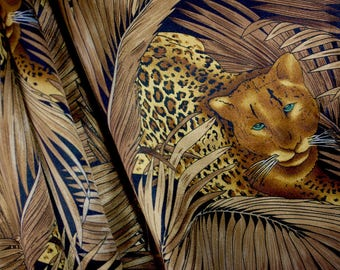 Hunting Leopards Satin Fabric