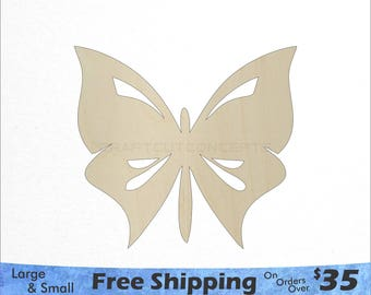 Butterfly  Shape - African Wildlife - Large & Small - Pick Size - Laser Cut Unfinished Wood Cutout Shapes (SO-0102)